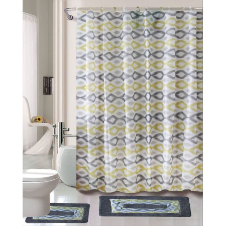 Cortlandt Collection 15 Pc Bathroom Accessories Set Bath Mat Contour Rug Shower Curtain