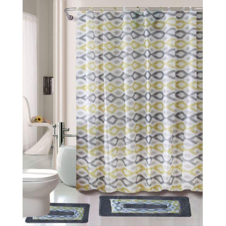 Cortlandt Collection 15 Pc Bathroom Accessories Set Bath Mat Contour Rug Shower Curtain