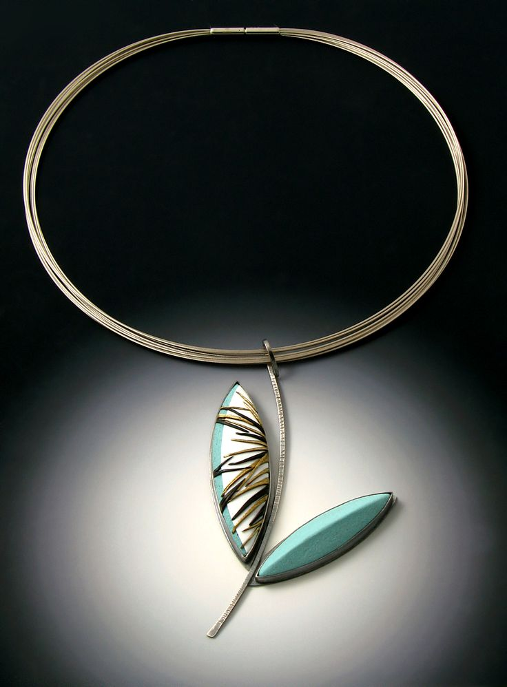 Grace Stokes Designs - Leaf Series Pendant - Turquoise and White - Oxidized Sterling Silver and Polymer Clay. - www.gracestokesdesigns.com