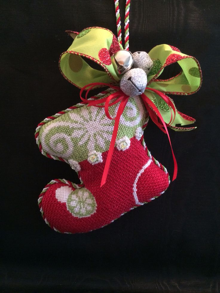 Puffy needlepoint stocking ornament ~ canvas by Ruth Schmuff