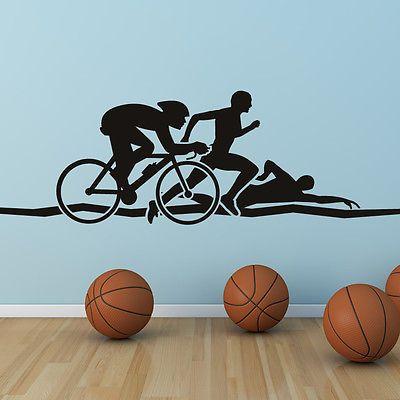 Triathlon Athletics Wall Art adesivo parede Decalques transferências in Casa e jardim, Materiais de construção e ferragens, Papel de parede e acessórios | eBay