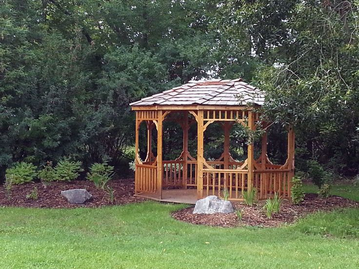 landscaping around a gazebo at the kerry wood nature centre red deer commercial site