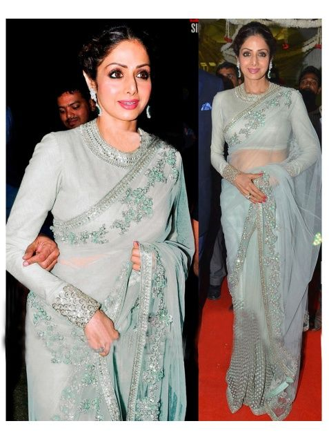 Sri Devi Shade Gray Nylon Net Bollywood Saree