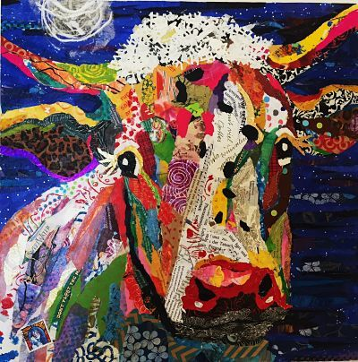 Night cow torn paper collage