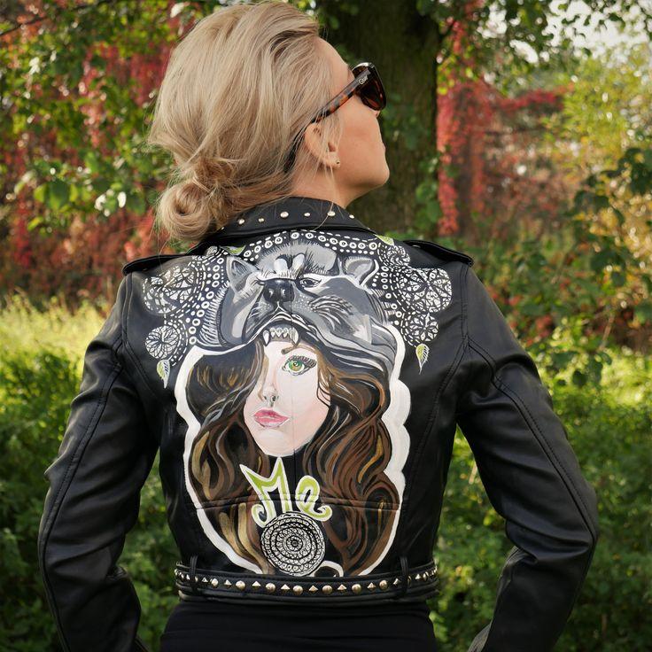 Hand-Painted Jacket , Hand-crafted, Custom Made Biker Jacket, Custom Leather Jacket