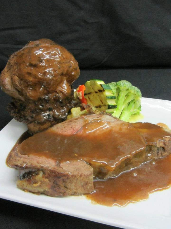 Cattlemen's Club Prime Rib with Yorkshire pudding   Visit us at 9380 Highway 97 North, Vernon BC or call us at (250) 542 - 2178.