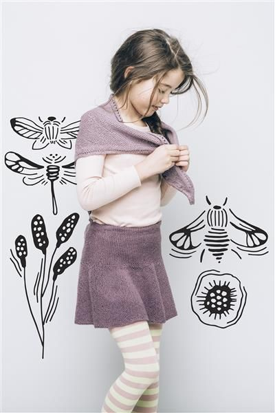 1502: Modell 19 Rillestrikket skjørt og sjal #alpakka #strikk #knit
