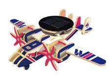 Avión aviones energía solar energía robotime diy hecho a mano 3d rompecabezas para niños juguetes educativos de madera(China (Mainland))