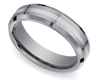 Beveled Mens Wedding Ring In Tungsten 18K White Gold