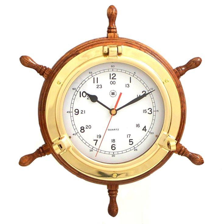 Brass+Porthole+Oak+Shipu0027s+Wheel+Clock,+Bey+Berk