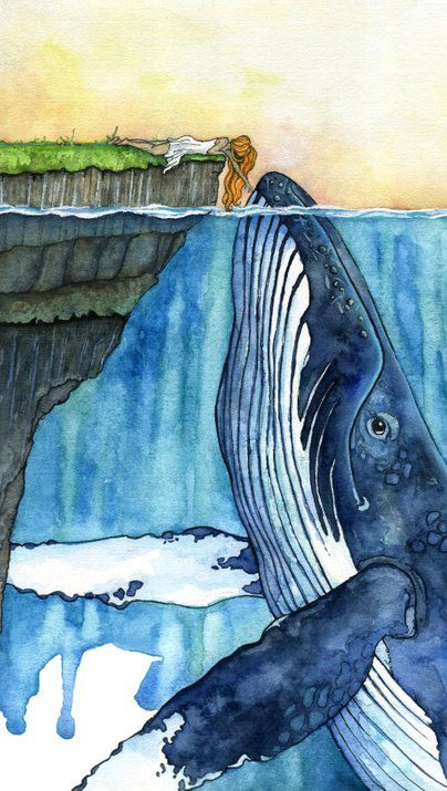 "Whale Art, Watercolor Painting, Whale Painting, Whale and Girl, Whale Print, Nursery Art, Humpback Whale, Print titled, ""The Fisherman's…"""