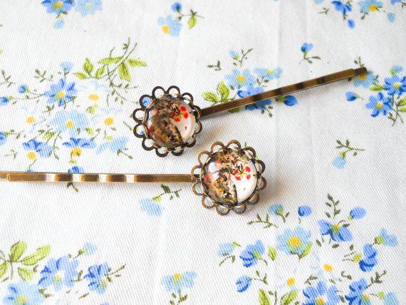 Flower Hair Pins, Flower Bobby Pins, Glass Cabochon Hair Pins, Cabochon Bobby Pins, Floral Hair Pins, Floral Bobby Pins, Antique Bronze