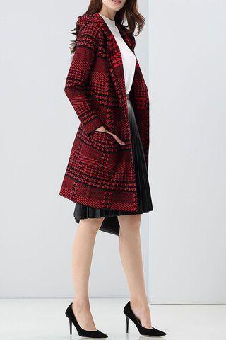 $71.99 Burgundy Hooded Houndstooth Coat