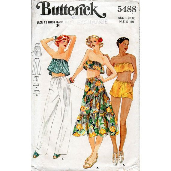 1970s Bandeau Midriff Top Skirt Pants and Shorts Vintage Sewing Pattern Butterick 5488 Bust 34