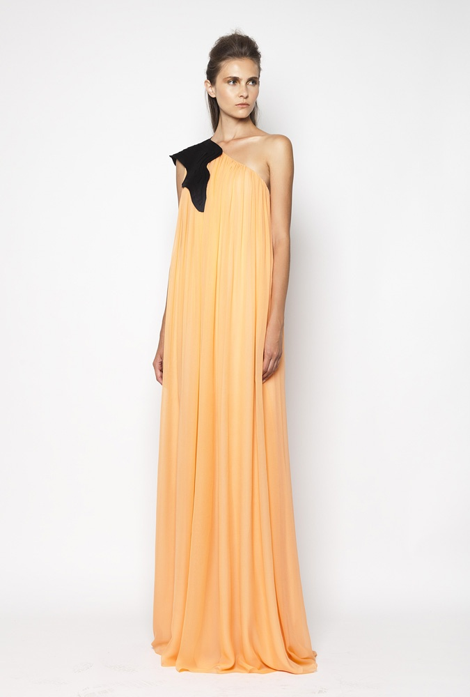 CHRISTOS COSTARELLOS SS12 Silk Chiffon Maxi Dress With Handmade Layered Teqnique On Shoulder