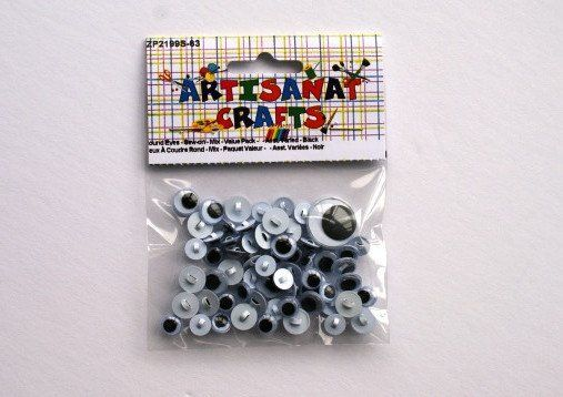 ZP2199S-63 Eyes Sew-On Round Assorted Size Black & White 5 grams