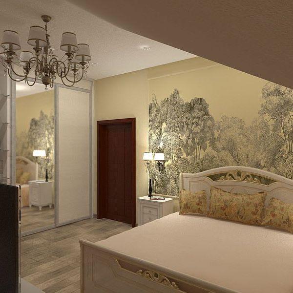 Спальня в деревянном доме. Спокойная классика не выходит из моды. Обои от…