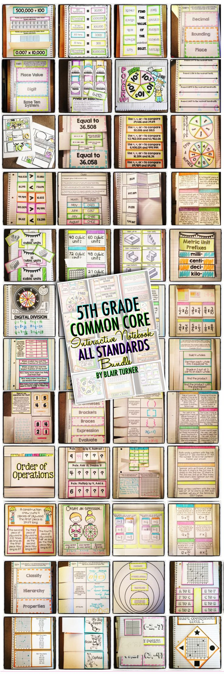 5th Grade Common Core Math Interactive Notebook: ALL Standards Mega-Bundle....rigorous, engaging, foldable fun. Includes a full set of activities for each and every 5th grade standard. $