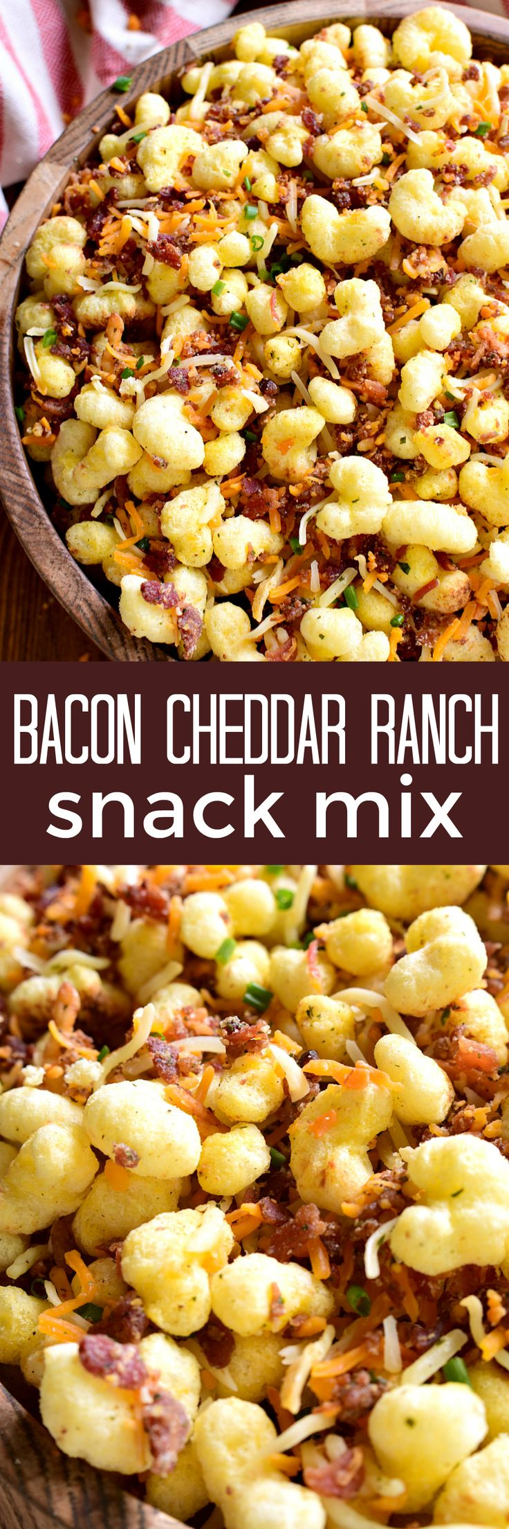 This Bacon Cheddar Ranch Snack Mix combines all the best flavors in one delicious mix! Made with just 5 ingredients, it comes together quickly and is perfect for game day! #ad