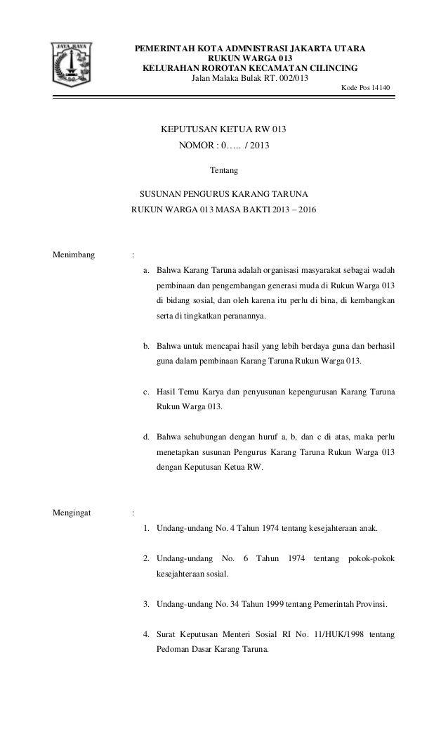 Contoh Surat Sk Karang Taruna Surat Karang Pemerintah