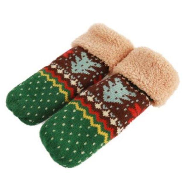 6 Цветов женская Рождественская Елка Шаблон Двойной Слой Вязать Холтер Рукавицы Теплые Зимние Перчатки