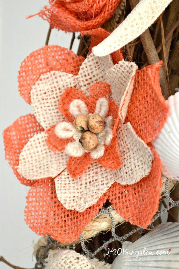 DIY coastal burlap flower wreath tutorial using 3 different types of burlap flowers is an easy afternoon DIY project
