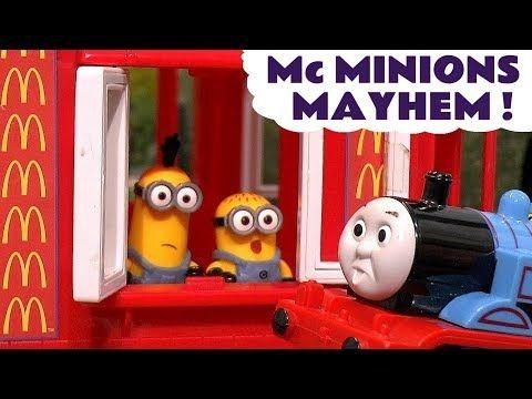 Thomas The Tank Engine Minions McDonalds Drive Thru Mayhem Burger Fire Rescue - Toy s for kids TT4U - YouTube