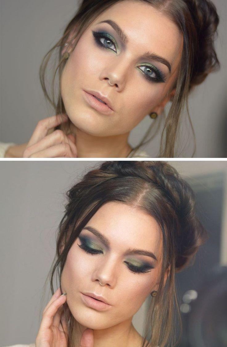 Maquiagem para noite olho verde e batom nude