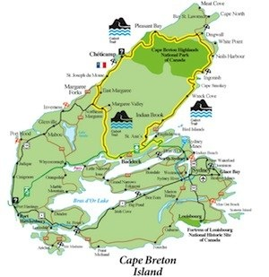 A great map of Cape Breton showing the Cabot Trail.  Follow the yellow outline.  A great drive!