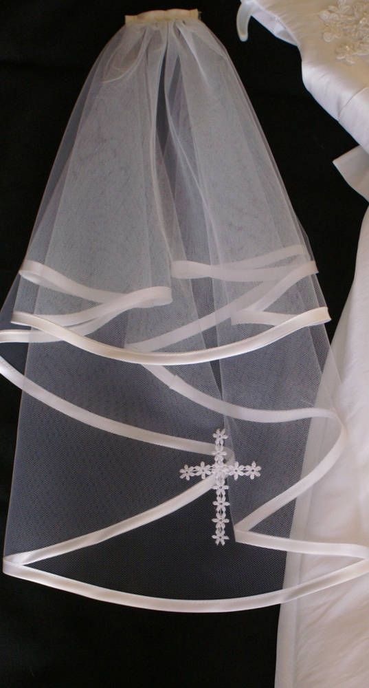 First HOLY COMMUNION VEIL ,SATIN EDGE WITH LACECROSS/ WHITE OR IVORY made in UK in Clothes, Shoes & Accessories, Wedding & Formal Occasion, Bridal Accessories | eBay