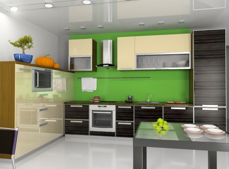Modern contemporary kitchen interior with contrasting colored finishes