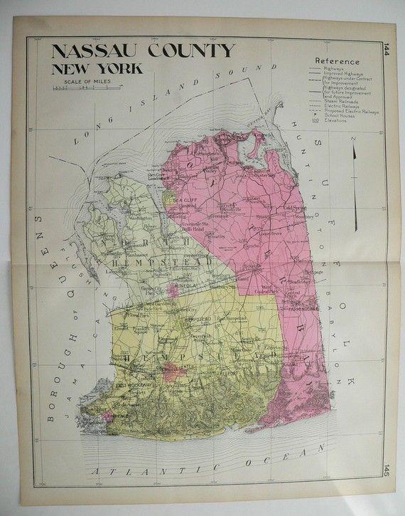 Nassau County NY Map Original 1912 Large Map, Genealogy Research, Historical Map, Vintage Art Map Gift, Long Island, Oyster Bay, Hempstead by OldMapsandPrints on Etsy