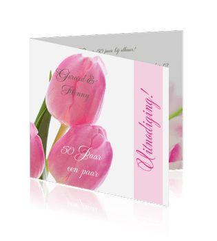 Een voorbeeld roze tulpen en bloemen jubileumkaarten maken.