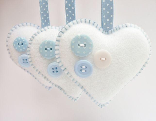x3 Buttony Hearts Felt Christmas Decorations