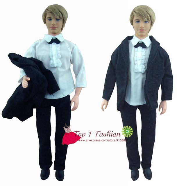 Envío gratis 1 sets ropa hechos a mano negro traje de novia con camisa blanca y pantalones para barbie firend para barbie doll ken