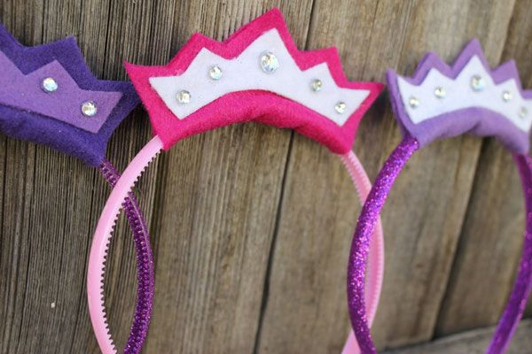 Princess Headbands. Probably easier to make and more comfortable for my daughter to wear than a normal tiara.