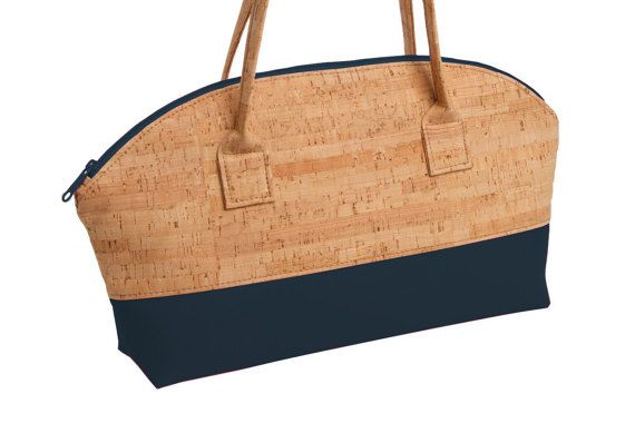Cork Rounded Handbag Rustic Cork  Navy Faux by NatalieTherese