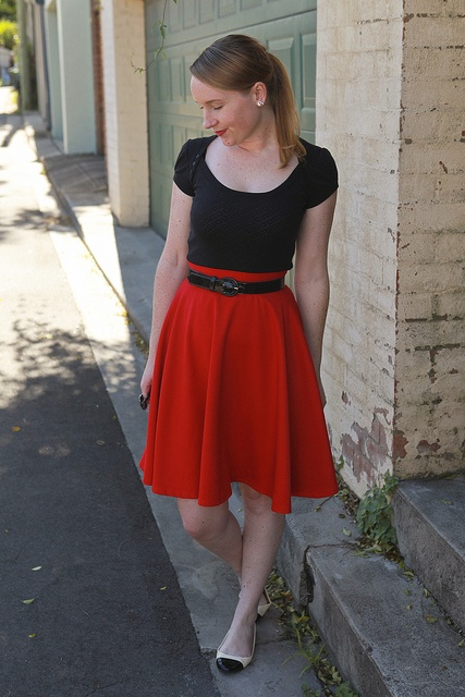 Day 4 Me Made May - Self-drafted Red Circle Skirt {via Jennifer Lauren Vintage}