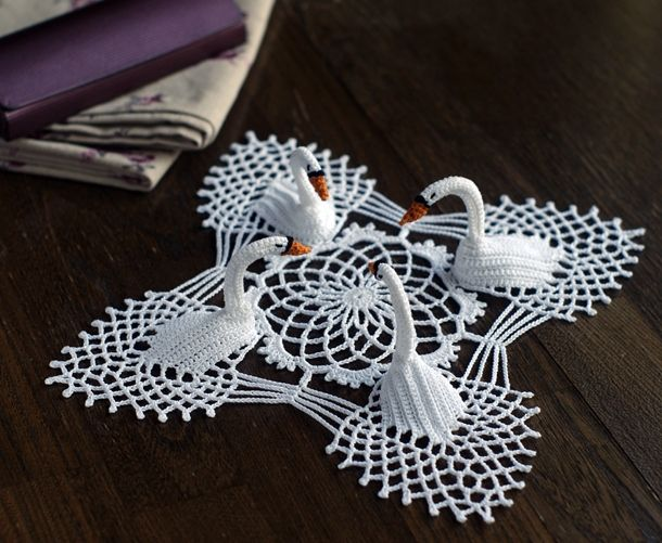 """4 swan crochet doily - pretty sure I've seen this in one of Mum's old crochet booklets.  It must have been """"too hard""""."""