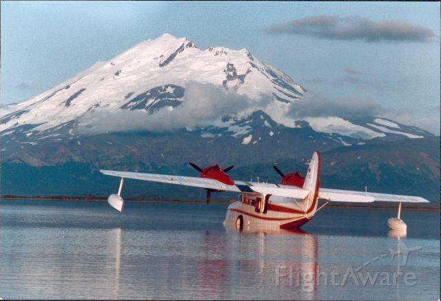 """Grumman Goose at """"Mother Goose"""" lake, Alaska. Photo taken at midnight!"""