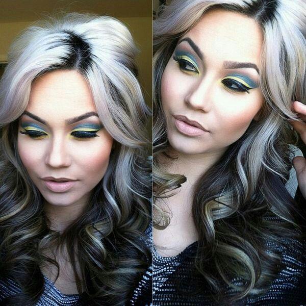 White Grey Highlights Hair Color Hair Highlights Gray