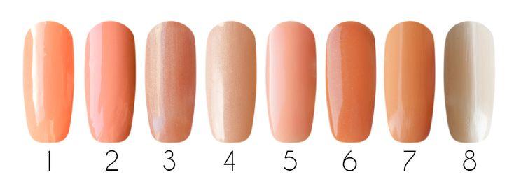 Peach Гель-лаки: 1- IBD Just Gel Polish, гелевый лак (Sundance #19400/123), 14 мл 2- CND Shellac, гель-лак (Salmon Run #90783), 7,3 мл 3- Gelish Harmony, гель-лак mini (Reserve 01329), 9 мл 4- Gelish Harmony, гель-лак (Forever Beauty 01325), 15 мл 5- Bluesky one step gel, однофазный гель-лак (Ностальгия 034), 10 мл 6- Bluesky Shellac, гель-лак (Оригинальный A37), 10 мл  Лак для ногтей: 7- Milv, лак для ногтей (#29), 16 мл 8- EL Corazon, лак для ногтей (Impression 230), 16 мл