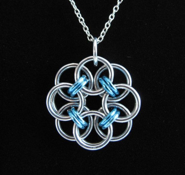 Chainmaille Rose Pendant
