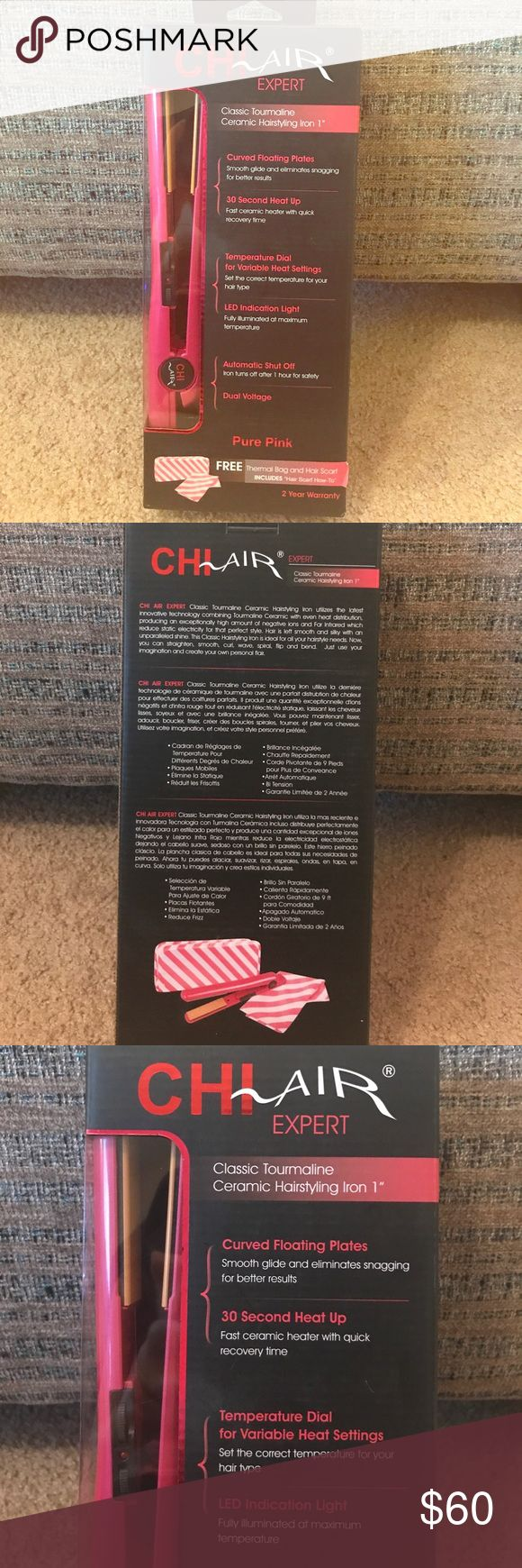 """CHI Air Expert Hair Straightener BRAND NEW - CHI Air Expert Hair Straightener - comes with the 1"""" ceramic hairstyling iron, a free thermal bag and hair scarf. CHI Other"""