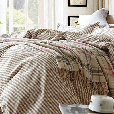 TheFit Paisley Textile Bedding for Adult U617 Brown Small Checkered and Cool Duvet Cover Set 100% Washed Cotton, Twin Queen King Set, 3-4 Pieces (Queen)