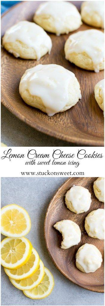 Lemon Cream Cheese Cookies   Dessert Recipes   Lemon Desserts   Easter Dessert - http://www.stuckonsweet.com