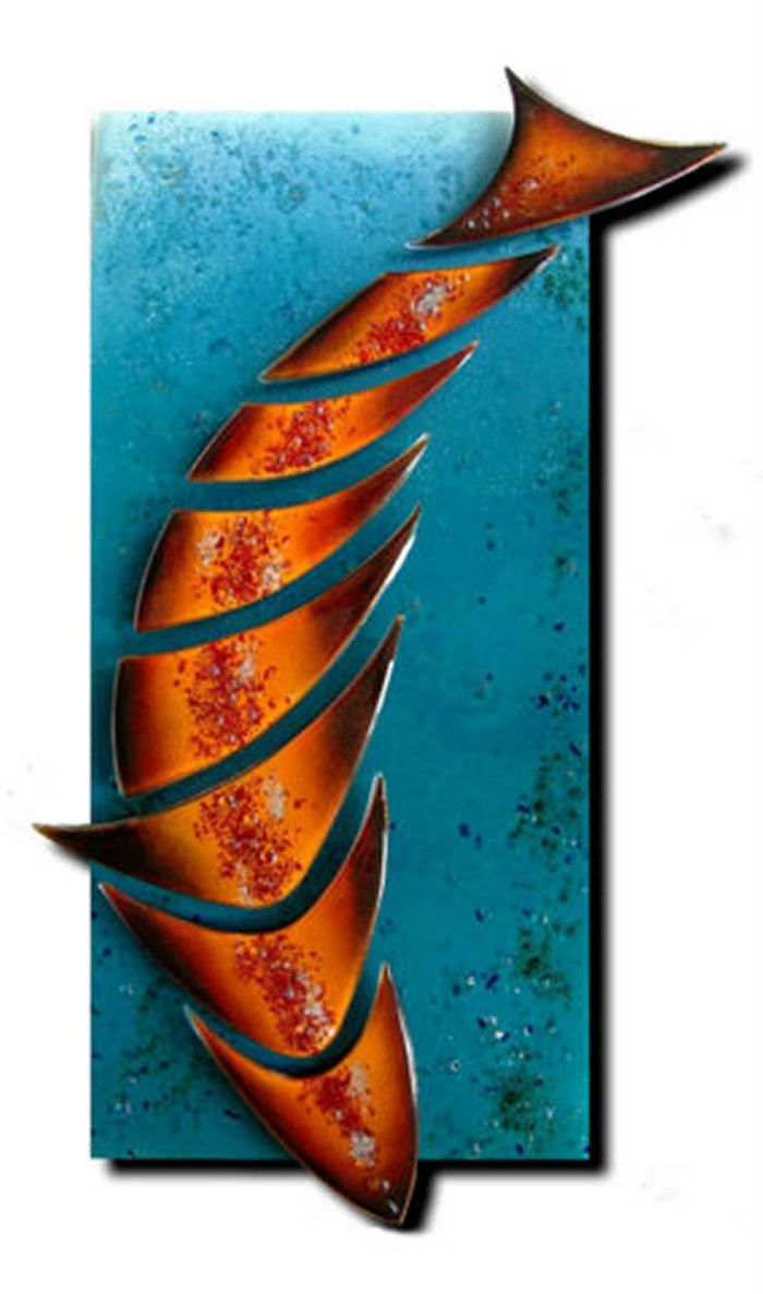 """Fusion Glass Wall Art - Koi from firesidesets.co.uk.  £459.00   This fused glass fish is an excellent use of tack fusing (for texture).  """"Each section of Koi is fused with coloured glass powders enhanced with brass and copper melted within."""""""