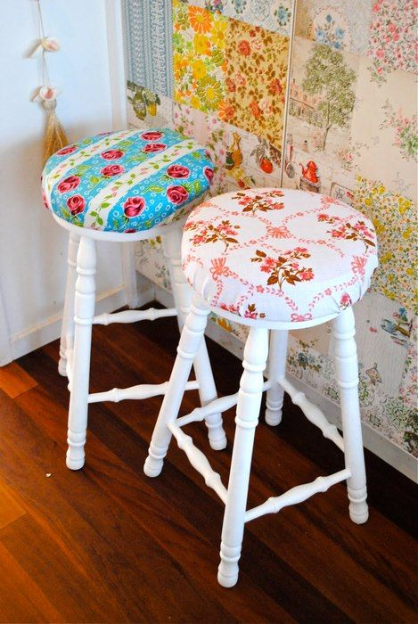 cute covered stools and fun wallpaper patchwork wall