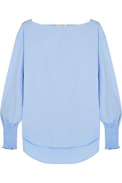 Cédric Charlier - Smocked Cotton-blend Poplin Top - Sky blue - IT48