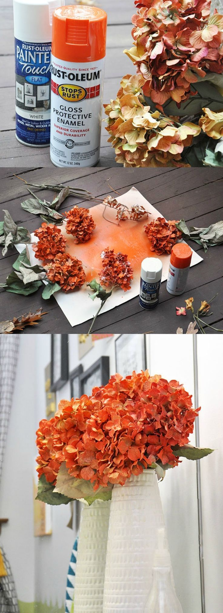 This is the easy way to DIY fake flowers with spray paint and make them be the color that you want. Reuse what you have and save money!